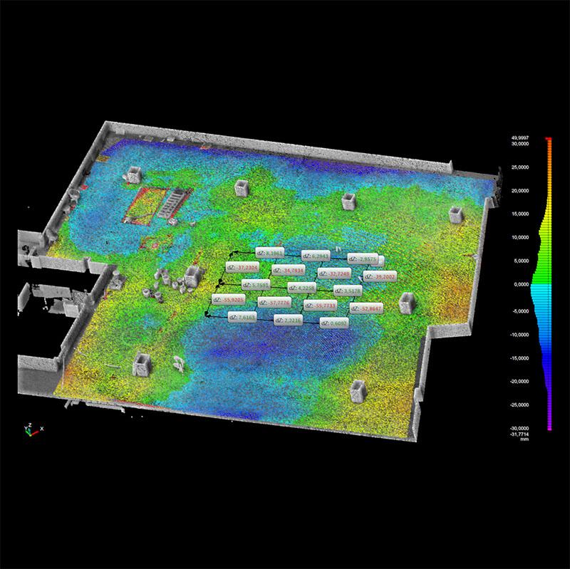 Ebenheitsmessung mit dem 3D-Scanner nach DIN 18202