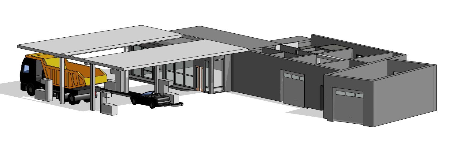 3D Modell der Tankstelle